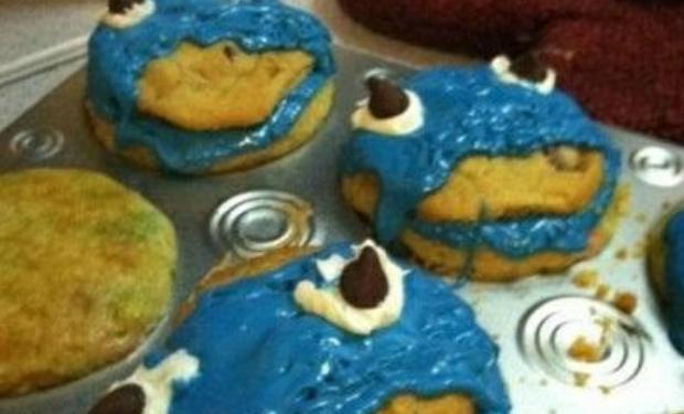 Cookie Monster Mini Cupcake, food, foodie, cupcakes,