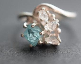 Raw Aquamarine and Diamond, crowdink.com, crowdink.com.au, crowdink, crowd ink, ring, raw, aquamarine, diamond