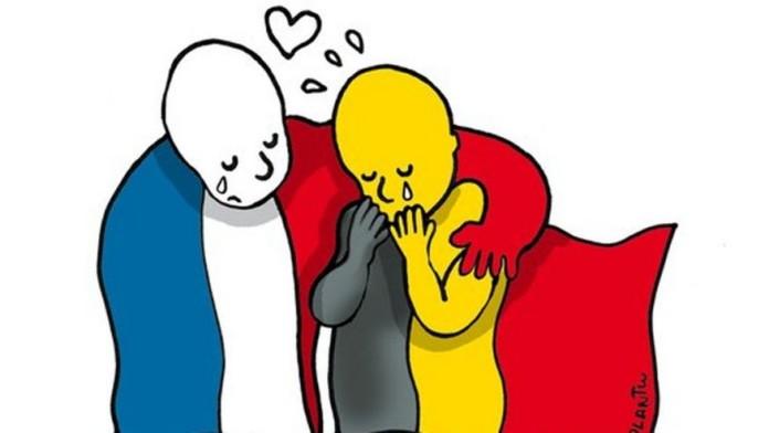 French Solidarity with Brussels, crowdink.com, crowdink.com.au, crowd ink, crowdink, brusselsattacks, open-door
