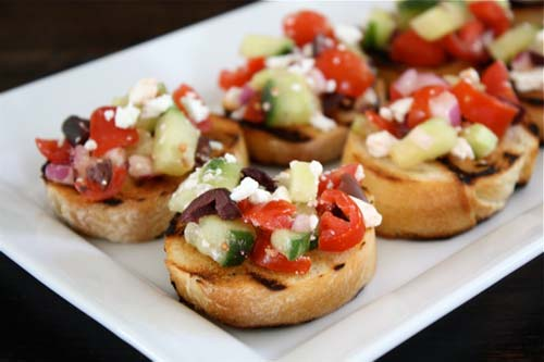 Greek Salad Bruschetta [image source: twopeasandtheirpod], crowdink, crowd ink, crowdink.com, crowdink.com.au