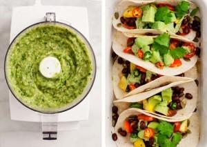 Veggie Tacos with Avocado-Tomatillo Sauce [image source: loveandlemons], crowdink, crowd ink, crowdink.com, crowdink.com.au