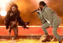 Beyonce Knowles and Kendrick Lamar Team Up for Freedom Performance [image source: jezebel.com], crowd ink, crowdink, crowdink.com, crowdink.com.au
