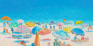 Crowded Beach Painting by Jan Matson, crowd ink, crowdink, crowdink.com, crowdink.com.au