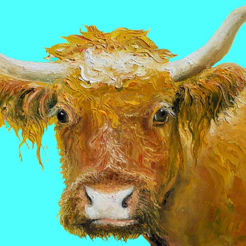 Horned Cow Painting on Blue Background by Jan Matson, crowd ink, crowdink, crowdink.com, crowdink.com.au