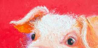 Pink Pig Painting by Jan Matson, crowd ink, crowdink, crowdink.com, crowdink.com.au