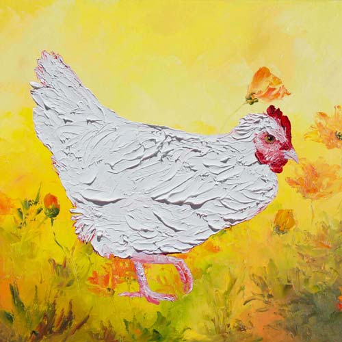 White Chicken on Yellow Floral Background by Jan Matson, crowd ink, crowdink, crowdink.com, crowdink.com.au