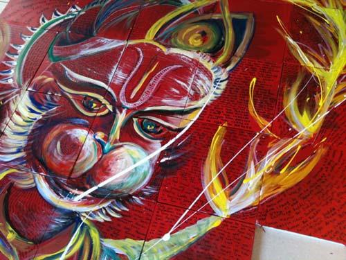 Hanuman Chalisa - Detail by Sarasa Krishnan, crowd ink, crowdink, crowdink.com, crowdink.com.au