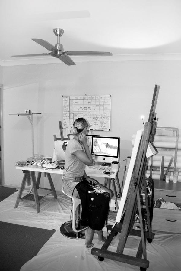 Carla Grace - Working in the Studio, crowd ink, crowdink, crowdink.com, crowdink.com.au