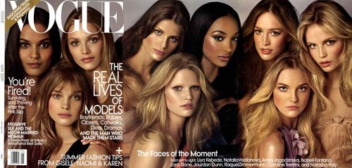 Vogue US May 2009 with models on the cover [image source: Vogue US], crowd ink, crowdink, crowdink.com, crowdink.com.au