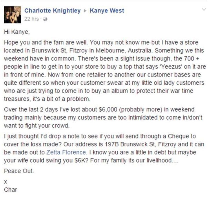 Charlotte Knightley's Facebook Message [image source: Kanye West Facebook], crowd ink, crowdink, crowdink.com, crowdink.com.au