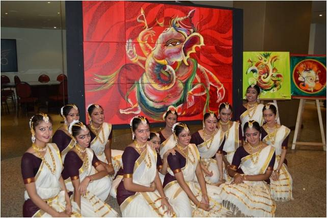 A Sahridhaya Painting completed with dancers by Sarasa Krishnan, crowd ink, crowdink, crowdink.com, crowdink.com.au