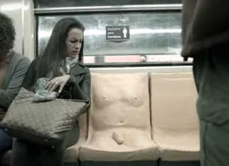 """crowdink.com, crowdink.com.au, crowd ink, crowdink, """"For men only"""" subway seat (Image Source: YouTube)"""