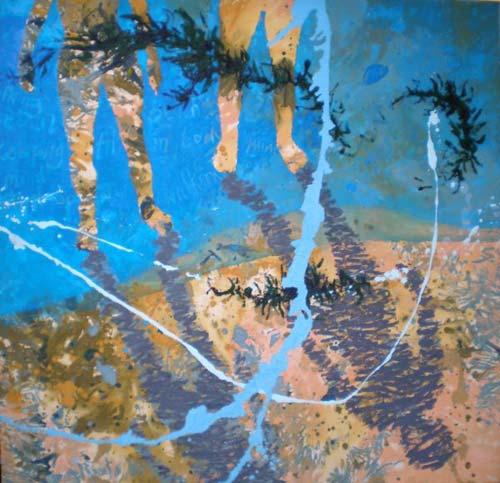 crowdink.com, art lovers Australia, artist, painting, drawing, crowdink.com.au, crowdink.com, crowd ink, crowdink , Beachwalk by Lorraine Abernethy