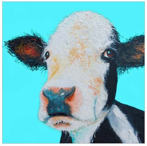 Black and White Cow On Blue Background by Jan Matson