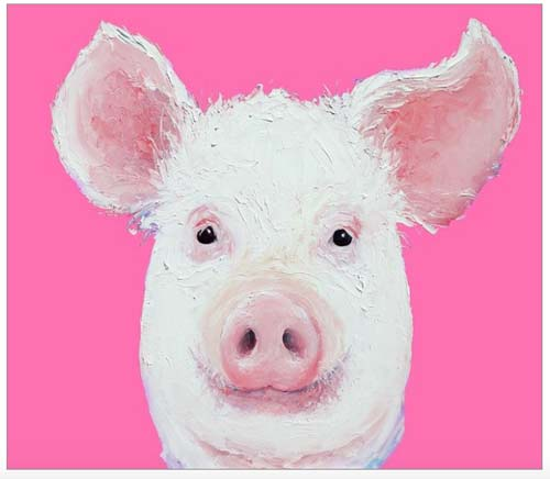 crowdink.com, crowdink.com.au, crowd ink, crowdink, Happy Pig Portrait by Jan Matson
