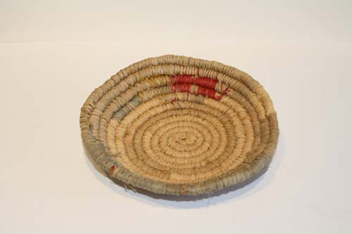 Lennah Newson, Basket Traditional Tasmanian Coiled natural bush dyed colours with processed button grass
