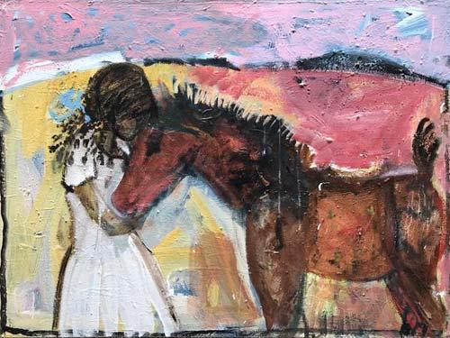 SARAH AND FOAL by John Maitland