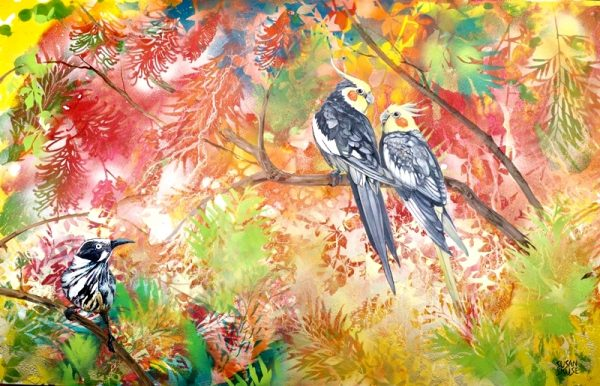 Garden Party No 3 – Cockatiel and New Holland Honeyeaters by Susan Skuse