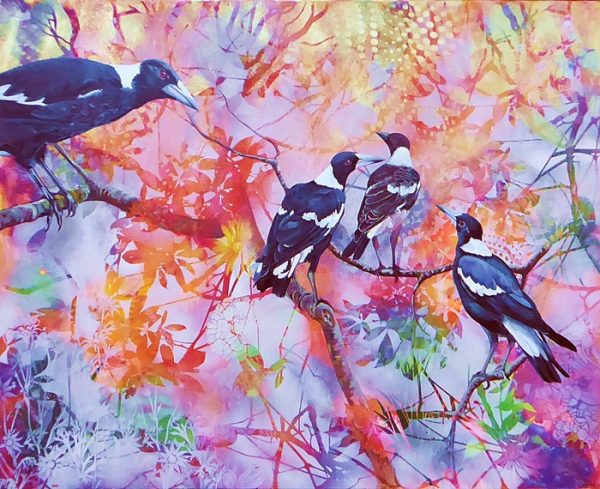 Magpie family by Susan Skuse