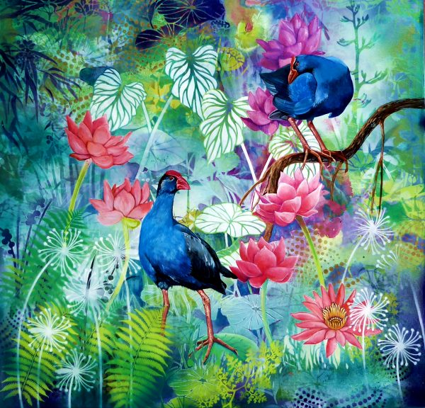 Pool Party #1 – Purple Swamphens by Susan Skuse