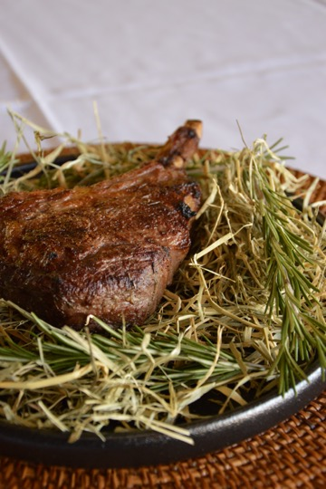 Veal Cutlet Smoked with Hay & Rosemary, Chapter One Port Douglas