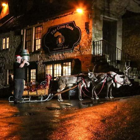 Reindeer pulling sled of beer (Image Source: Box Steam Brewery) www.crowdink.com, crowdink, crowd ink