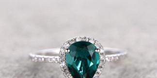 Emerald White Gold, Halo Diamond (Image Source: Etsy), crowdink.com, crowdink.com.au, crowd ink, crowdink, crowd