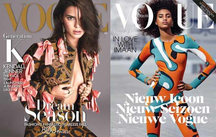 Kendall Jenner vs Iman Hammam [image source: Vogue US / Vogue Netherlands], crowd ink, crowdink, crowdink.com, crowdink.com.au