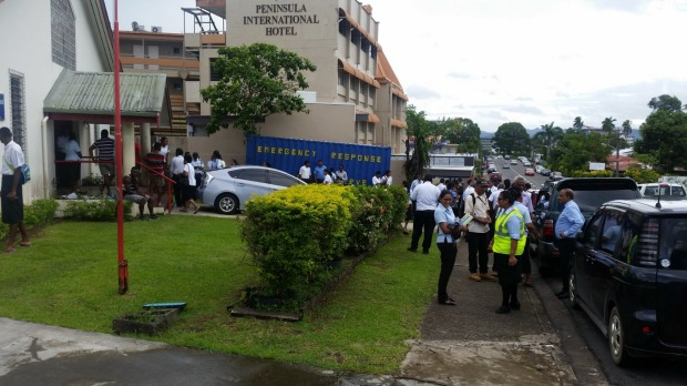 Staff at Fiji's Red Cross in Suva have been evacuated (Image Source: CORINNE AMBLER IFRC/TWITTER)